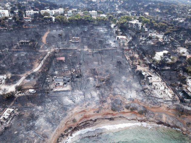 Aerial view of the area after wildfires in Mati,