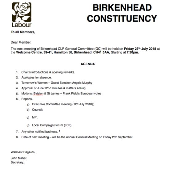 The agenda for the next Birkenhead CLP
