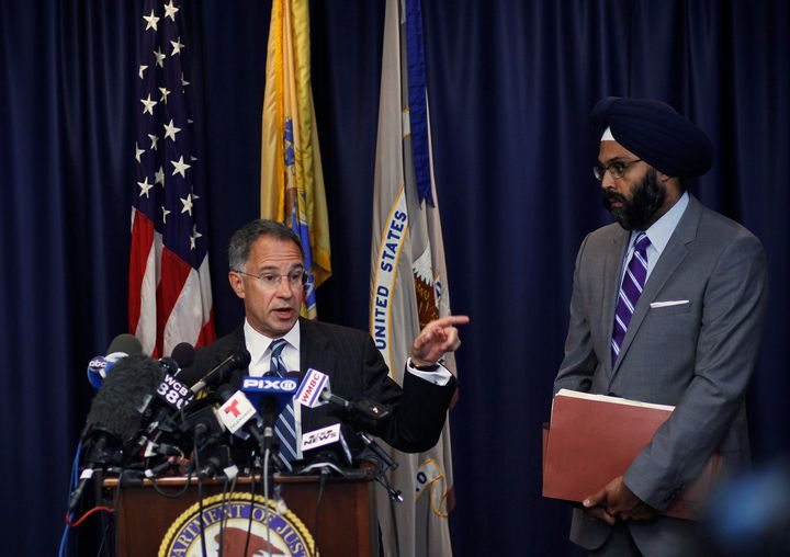 Current New Jersey Attorney General Gurbir Grewal, right, pictured in 2013.