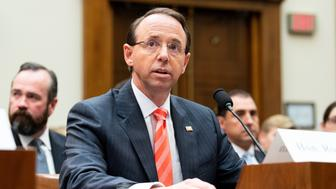 WASHINGTON, DC, UNITED STATES - 2018/06/28: Rod Rosenstein, United States Deputy Attorney General, at the House Judiciary Committee in the Rayburn Building at the US Capitol. (Photo by Michael Brochstein/SOPA Images/LightRocket via Getty Images)
