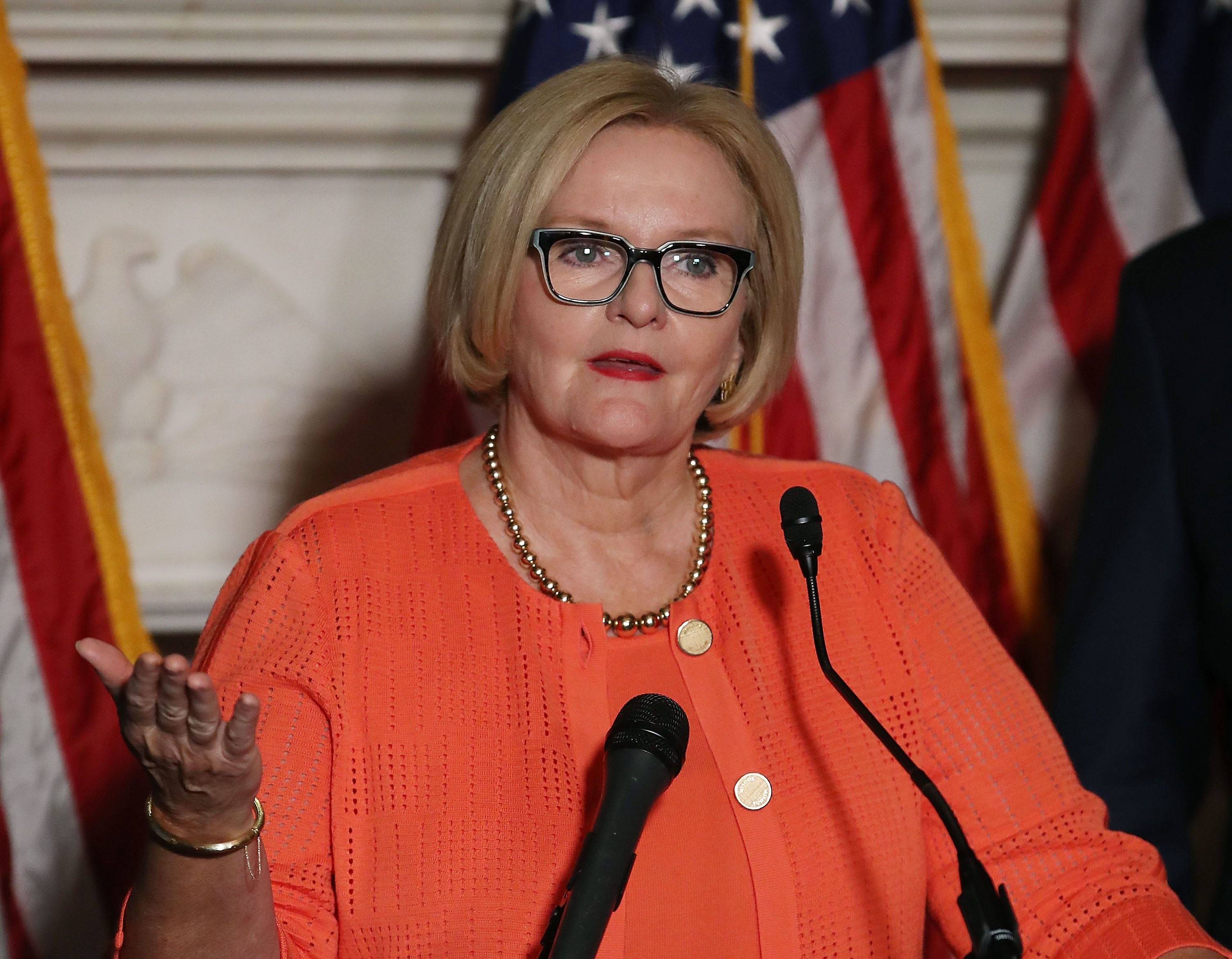 WASHINGTON, DC - JULY 19:  Sen. Claire McCaskill (D-MO) speaks on a proposed protection plan for people with pre-existing health conditions, during a news conference on Capitol Hill July 19, 2018 in Washington, DC.  (Photo by Mark Wilson/Getty Images)