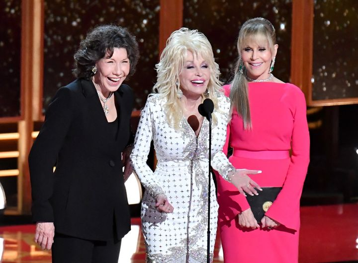 "Lily Tomlin, Dolly Parton and Jane Fonda whetted appetites for a ""9 to 5"" sequel when they appeared at the 2017 Emmy Awards.&"
