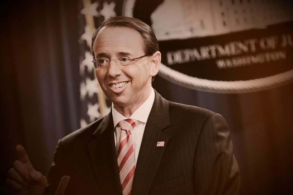 Deputy Attorney General Rod Rosenstein announces indictments against 12 Russian intelligence agents on...