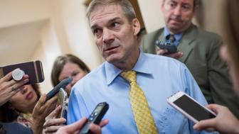 UNITED STATES - JUNE 26: Rep. Jim Jordan, R-Ohio, talks with reporters after a meeting of the House Republican Conference in the Capitol on June 26, 2018. (Photo By Tom Williams/CQ Roll Call)