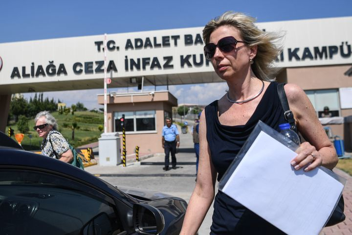 Norine Brunson, wife of U.S. pastor Andrew Brunson, leaves a court proceeding in the trial of her husband, in Aliaga, no