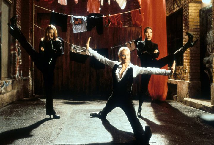 "Drew Barrymore, Cameron Diaz and Lucy Liu in a scene from the film ""Charlie's Angels."""