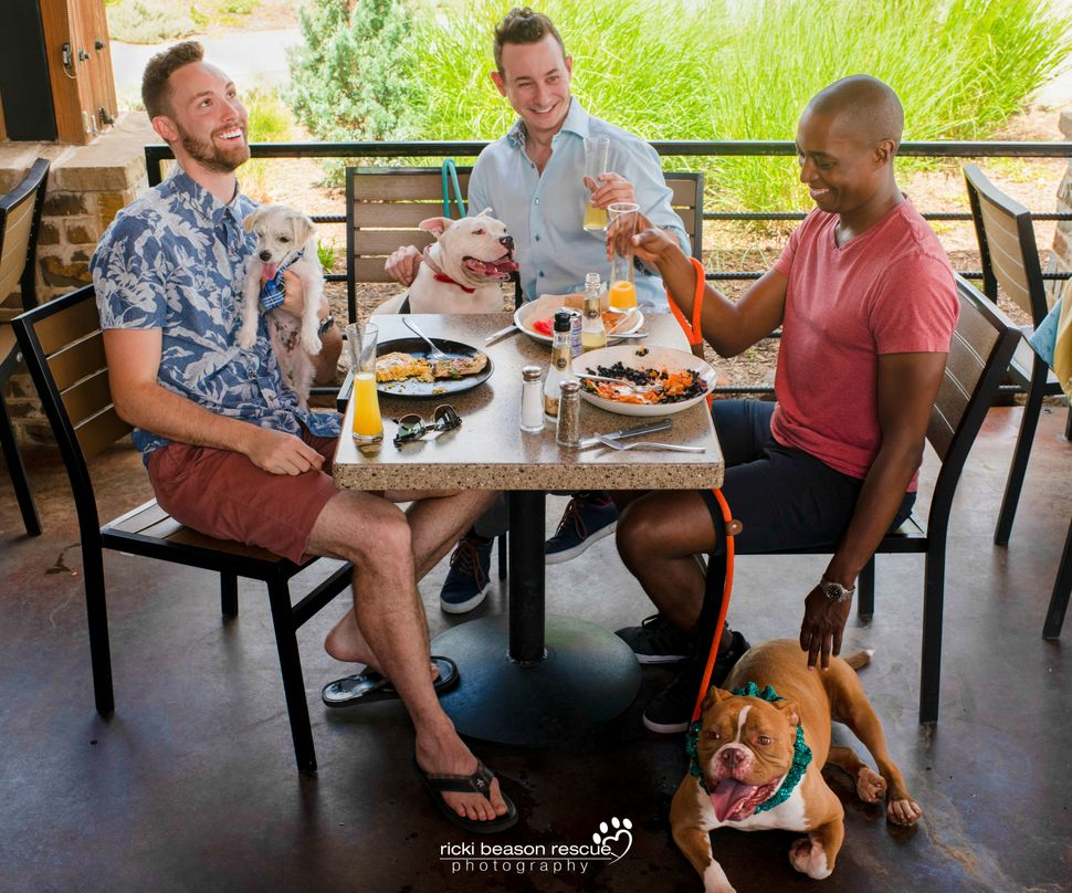 Dad bod(L to R): Chase, Nick, Eric  <br>Dog: Milo with Rescue Row (with Chase),Gizzywith