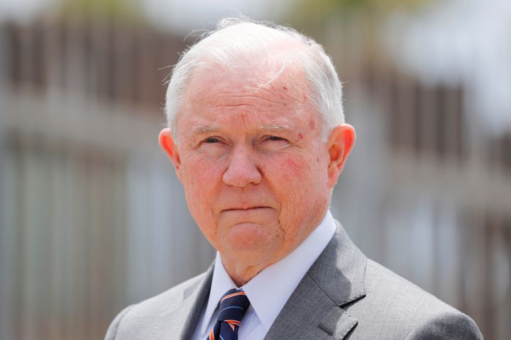 "U.S. Attorney General Jeff Sessions announced the administration's ""zero tolerance"" policy toward migrants on May 7."