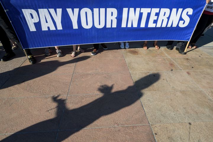 Unpaid interns at the United Nations (UN) in Geneva hold a demonstration organised by The Fair Internship Initiative (FII), a