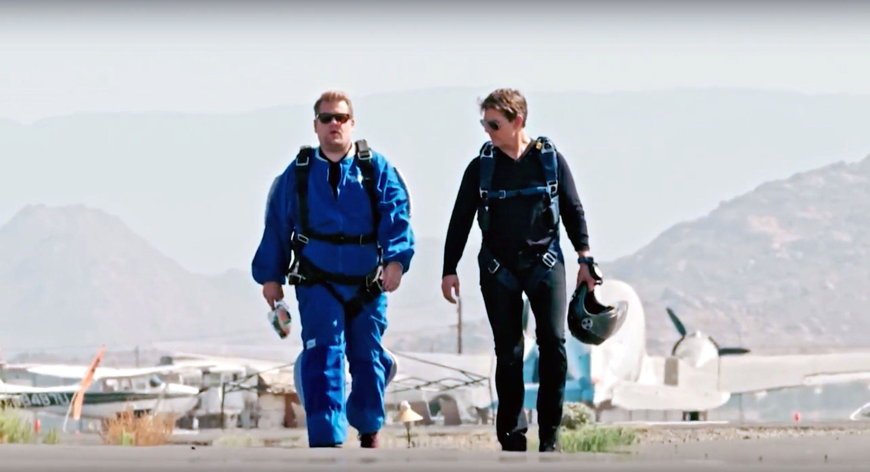 James Corden and Tom Cruise going sky diving