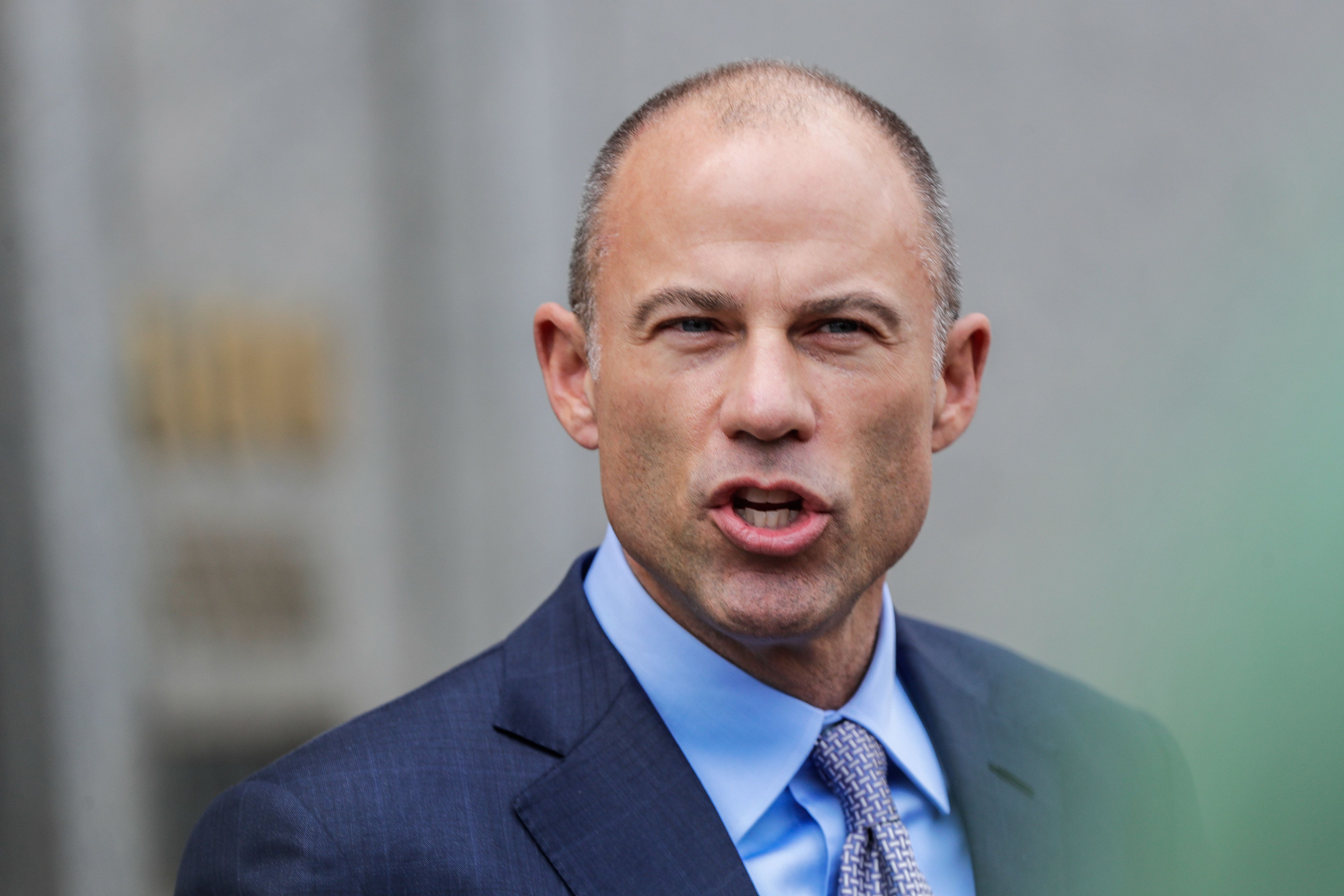 Michael Avenatti, attorney for Stormy Daniels, is pictured outside the Manhattan Federal Court in New York City, New York, U.S., April 13, 2018. REUTERS/Jeenah Moon