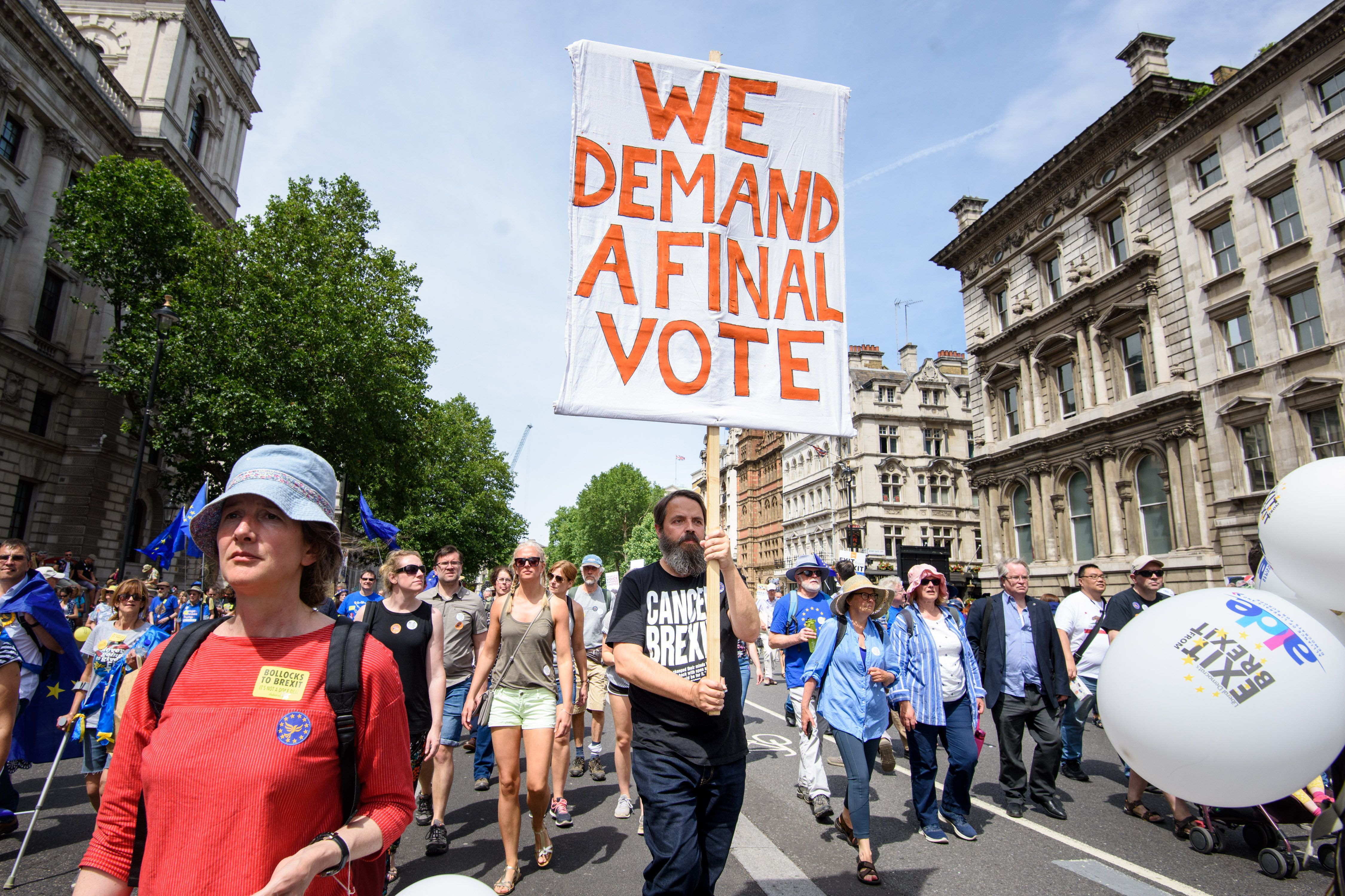 Anti-Brexit demonstrators fill Parliament Square in central London, during the People's Vote march in June 2018.
