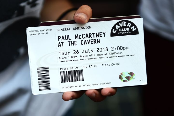 "A ticket for Paul McCartney's ""secret"" concert at The Cavern Club in Liverpool."