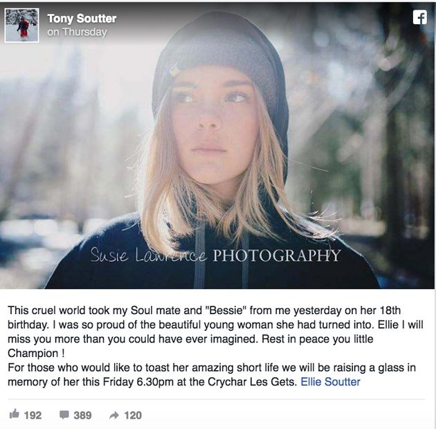 Tony Soutter paid tribute to his daughter on