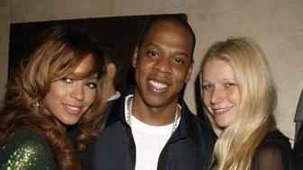 LONDON - SEPTEMBER 27:  (EMBARGOED FOR PUBLICATION IN UK TABLOID NEWSPAPERS UNTIL 48 HOURS AFTER CREATE DATE AND TIME)  (L-R) Singer Beyonce Knowles, rapper Jay-Z and actress Gwyneth Paltrow attend the after party following the concert by Jay-Z at The Royal Albert Hall, at Movida on September 27, 2006 in London, England.  (Photo by Dave M. Benett/Getty Images)