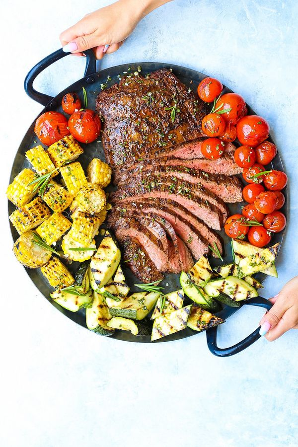 """<strong>Get the<a href=""""https://damndelicious.net/2018/07/05/grilled-flank-steak-and-vegetables/"""" target=""""_blank"""">Grill"""