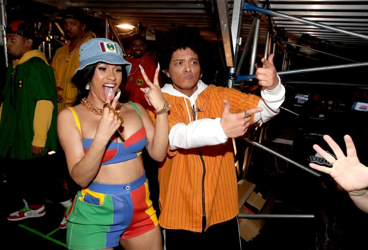 Cardi B and Bruno Marsbackstage at the 60th Annual Grammy Awards in New York City on Jan. 28. She had been set to join