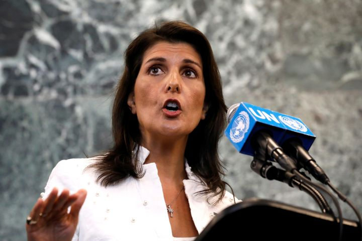 U.S. Ambassador to the United Nations Nikki Haley speaks at a press briefing at U.N. headquarters in New York on July 20, 201