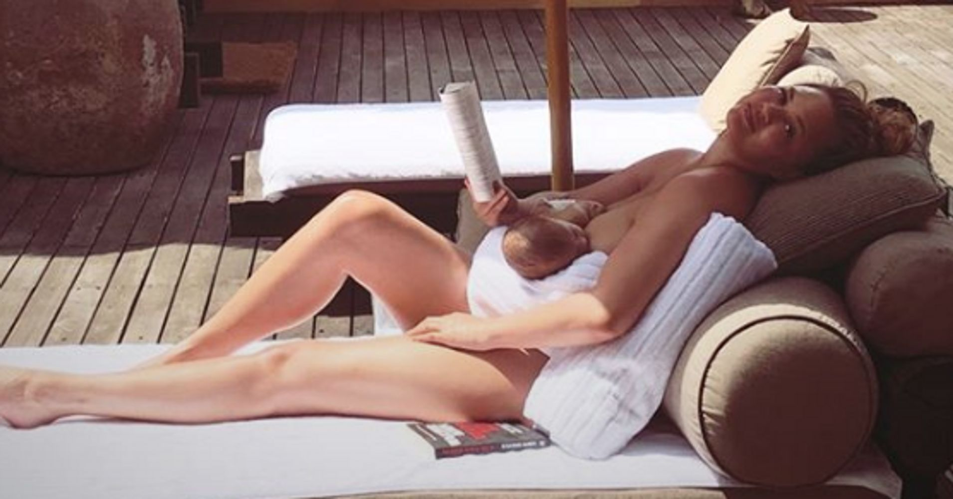 Chrissy Teigen Breastfeeds Baby Miles In The Buff In Intimate Family Vacation Picture