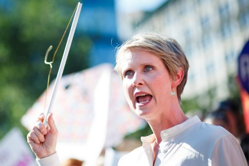 New York gubernatorial candidate Cynthia Nixon at a rally in response to President Trump's nomination of Judge Brett Ka