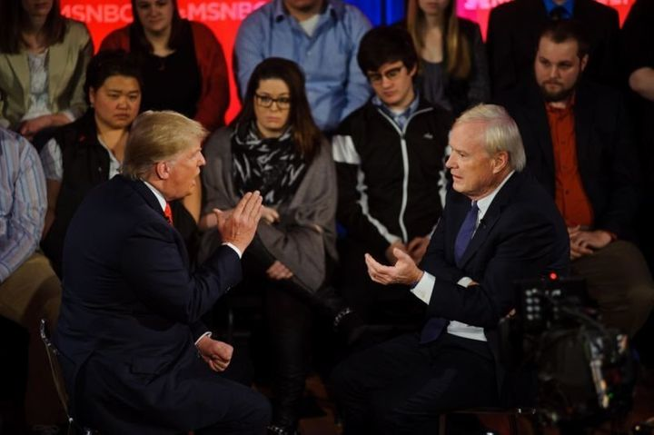 Candidate Donald Trump and MSNBC commentator Chris Matthews during a town hall in March 2016.
