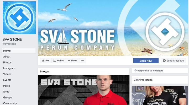 The page for Sva Stone, a Ukrainian clothing brand owned by a prominent neo-Nazi.