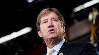 UNITED STATES - JANUARY 17: Rep. Jason Lewis, R-Minn., speaks during the House GOP leadership news conference following the House Republican Congerence meeting on Wednesday, Jan. 17, 2018. (Photo By Bill Clark/CQ Roll Call)