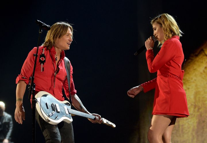 Keith Urban and Julia Michaels perform at the 53rd Academy of Country Music Awards on April 15, 2018, in Las Vegas, Nevada.