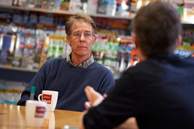 Kim Stanley Robinson photographed at a book talk in