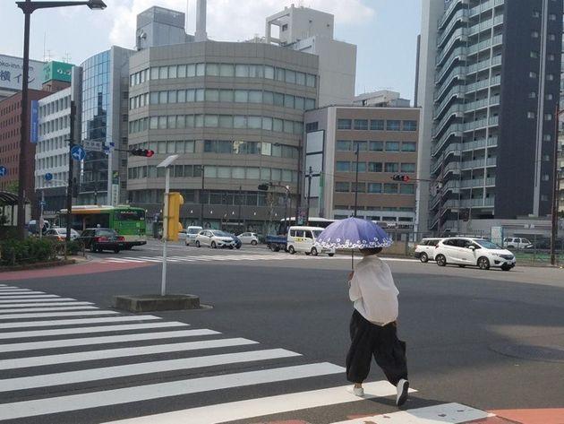 24일 일본 도쿄 주오구 거리에서 한 여성이 양산을 들고 횡단보도를 건너고