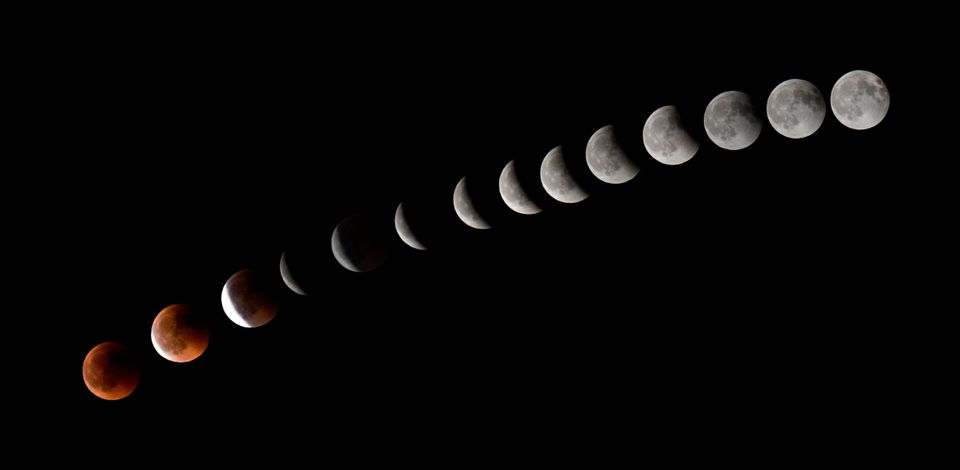 This combination of 14 pictures shows the moon during a total lunar eclipse near to La Puente town on...