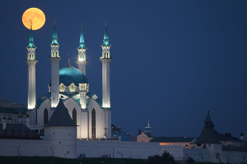 Another shot of the moon over the Qolsharif Mosque in Kazan, Russia.