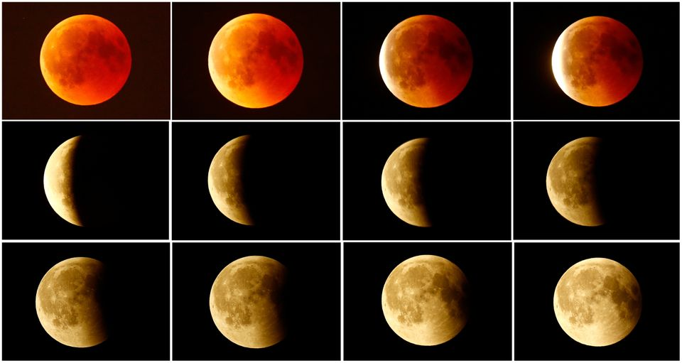 This combination photo shows the lunar eclipse from a blood moon (top left) back to full moon (bottom...
