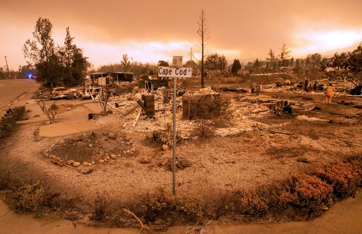 Burned out properties are seen near the Lake Keswick Estates area during the Carr fire in Redding, California, on July 27.