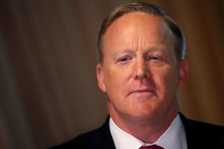 Sean Spicer promoting his new book at the unveiling of a wax figure of Melania Trump at Madame Tussauds in New York City.
