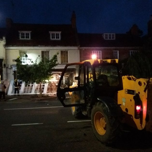 The entire shop front appeared to have collapsed after the