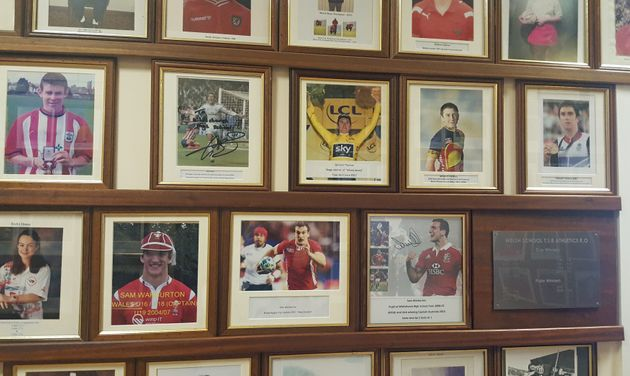 Pictures of ex-pupils Geraint Thomas, Gareth Bale and Sam Warburton on the wall of fame at Whitchurch...