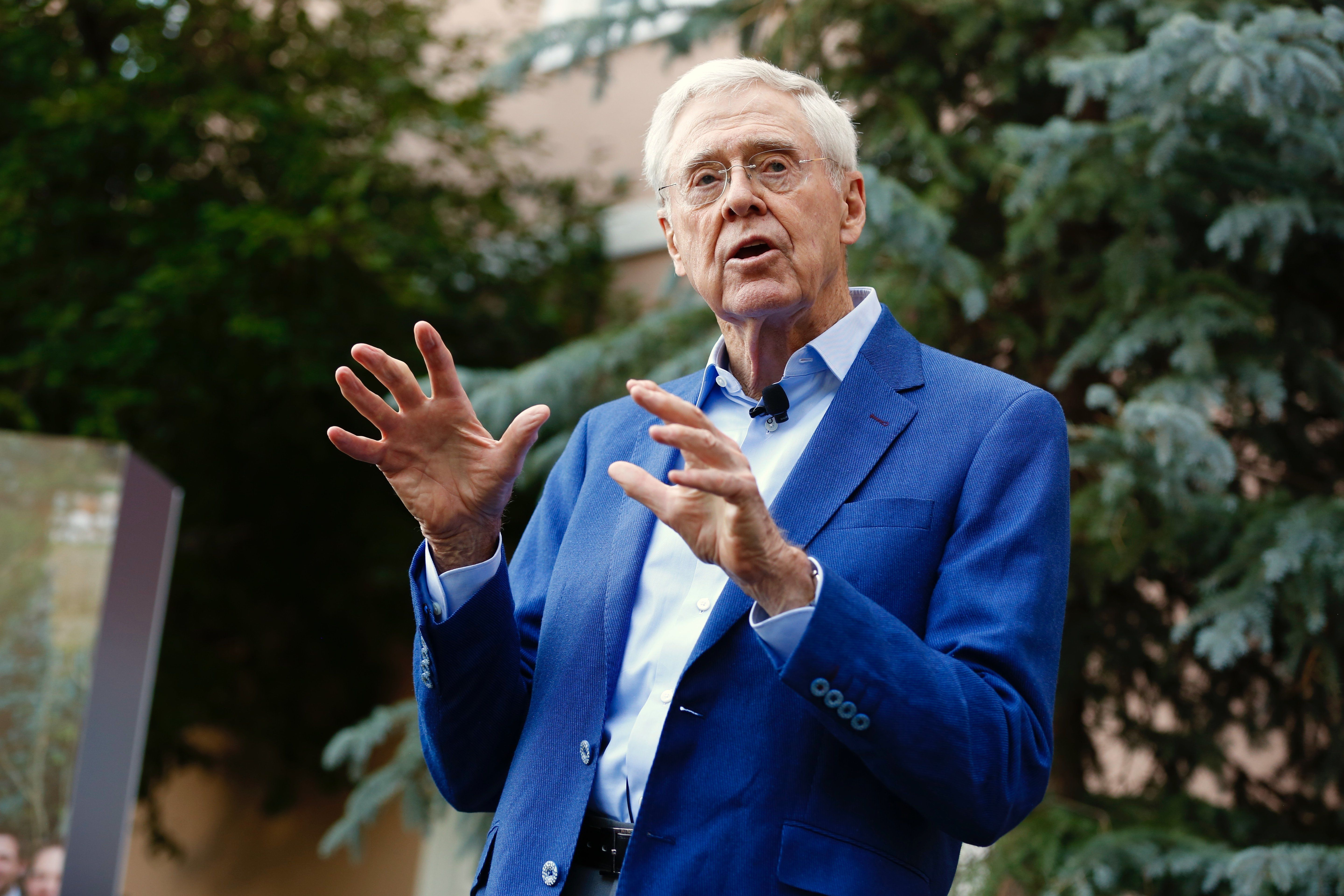 Charles Koch speaks to donors Saturday night at the Koch Network's annual summer gathering in Colorado Springs, Colorado.