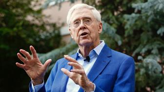 Charles Koch addresses donors to the libertarian Koch Network at its annual summer gathering in Colorado Springs Colorado on July 28 2018
