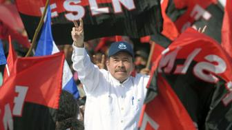 President Daniel Ortega waves to supporters as he arrives to take part in the commemoration of the 39th Anniversary of the Sandinista Revolution at 'La Fe' square in Managua on July 19, 2018. - Nicaragua on Thursday marked the anniversary of its leftwing Sandinista revolution victory 39 years ago -- but the commemorations were overshadowed by President Daniel Ortega's deadly crackdown on opponents calling for his ouster. (Photo by MARVIN RECINOS / AFP)        (Photo credit should read MARVIN RECINOS/AFP/Getty Images)