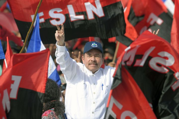 Nicaraguan President Daniel Ortega takes part in the commemoration of the 39th anniversary of the Sandinista Revolution