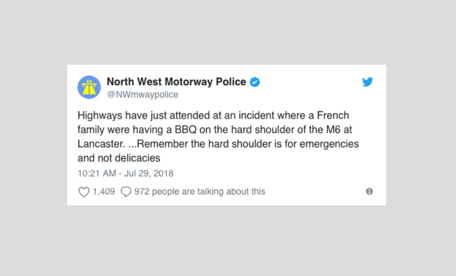 Police Issue Warning As French Family Have A BBQ On The Hard Shoulder Of The