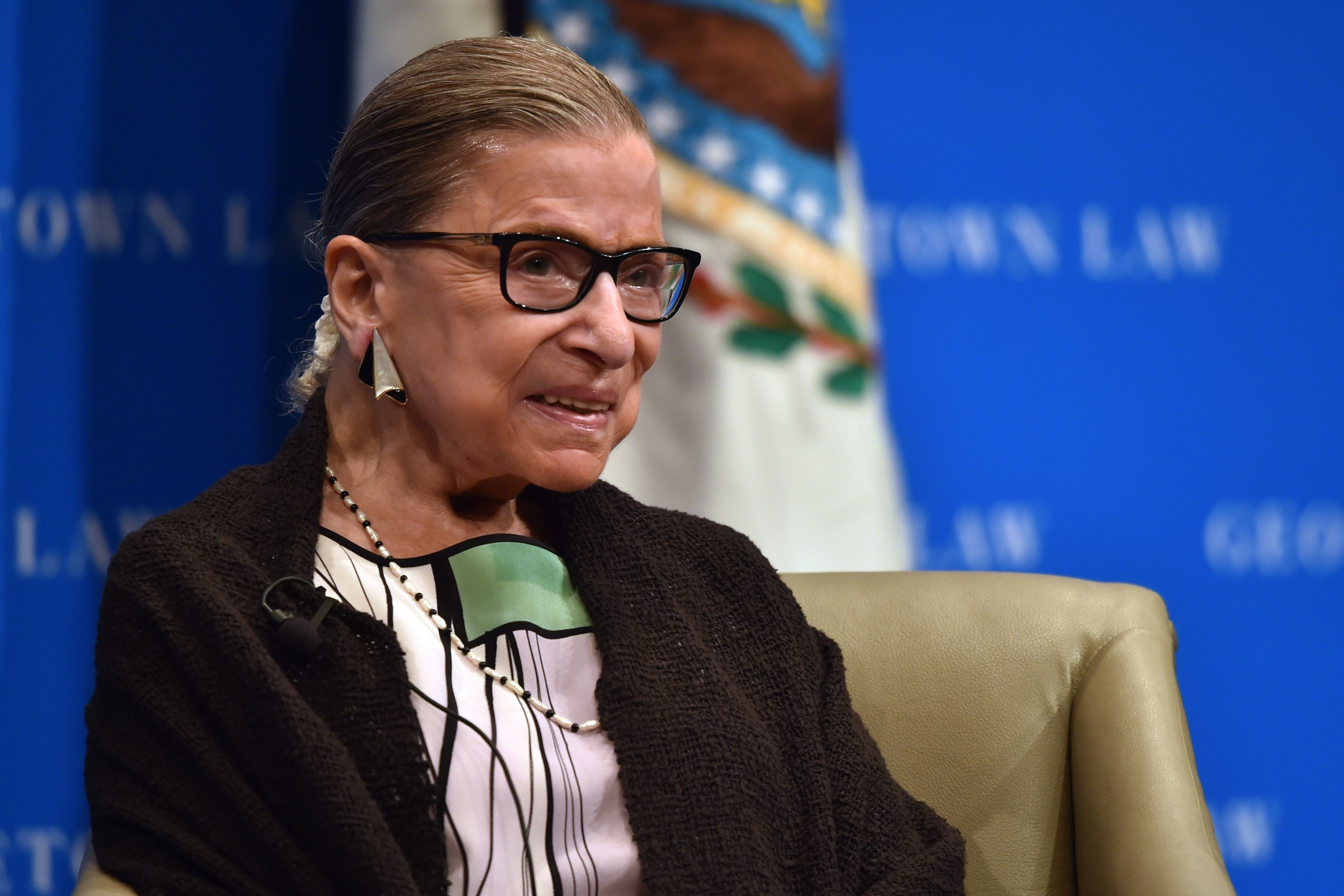 Associate Justice of the Supreme Court Ruth Bader Ginsburg gestures as she speaks to Georgetown University law students in Washington, DC on September 20, 2017.  / AFP PHOTO / Nicholas Kamm        (Photo credit should read NICHOLAS KAMM/AFP/Getty Images)