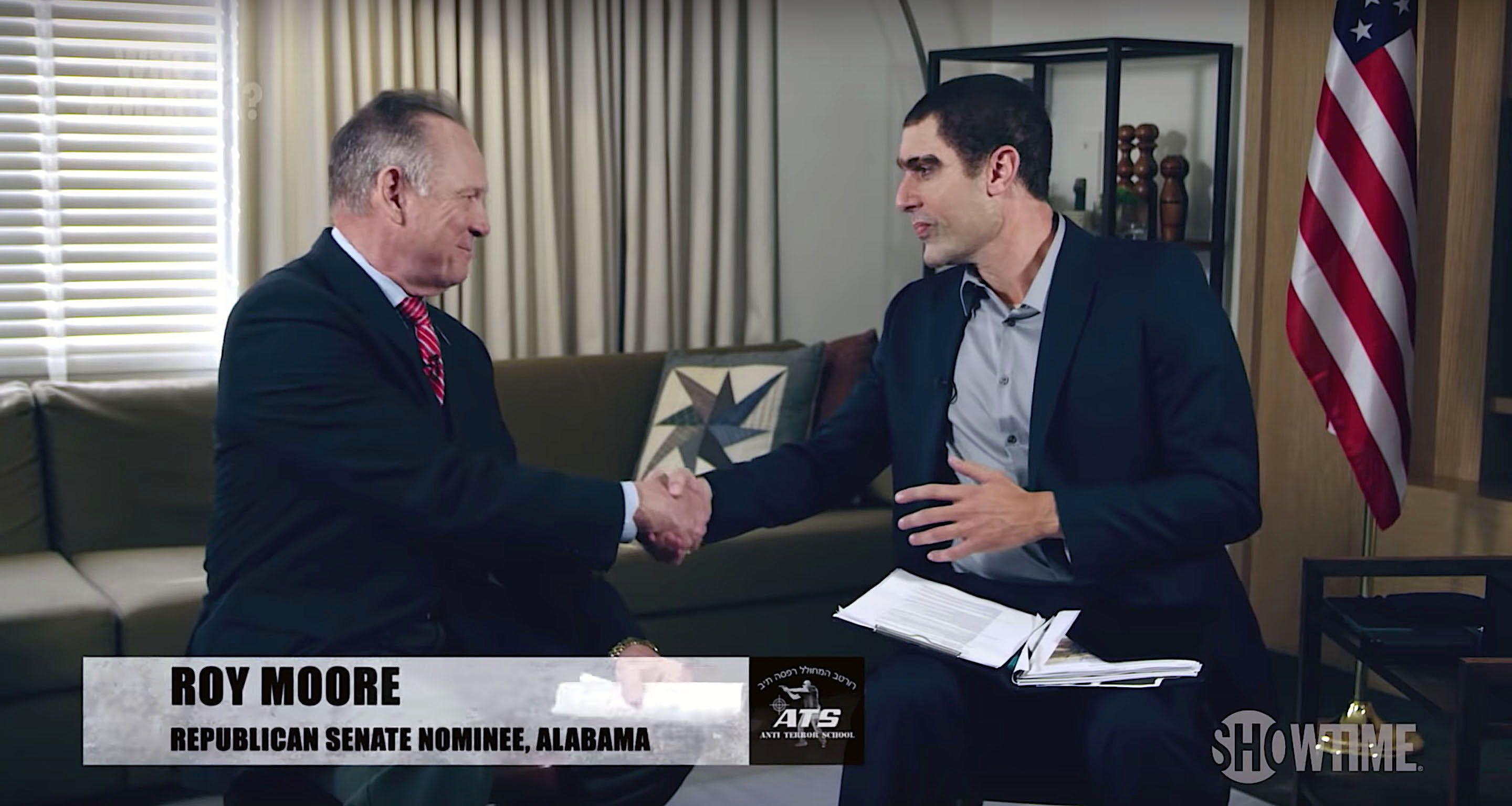 Roy Moore is interviewed by Sacha Baron Cohen in disguise on Who Is America