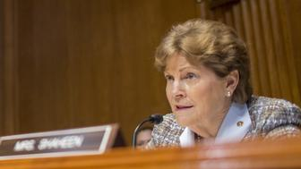 Jeanne Shaheen, a Democrat from New Hampshire and ranking member of the Senate Appropriations Subcommittee on Commerce, Justice and Science, speaks during a hearing with Robert Lighthizer, U.S. trade representative, not pictured, in Washington, D.C., U.S., on Thursday, July 26, 2018. The dollar got an added boost in late morning U.S. trading amid Senate testimony from Lighthizer. Photographer: Zach Gibson/Bloomberg via Getty Images