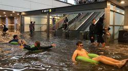 En Suède, les pluies diluviennes inondent une gare et ça donne des idées à