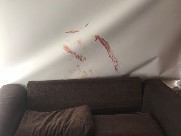 Injuring himself on the broken glass, he left the rooms of the house 'looking like a scene from