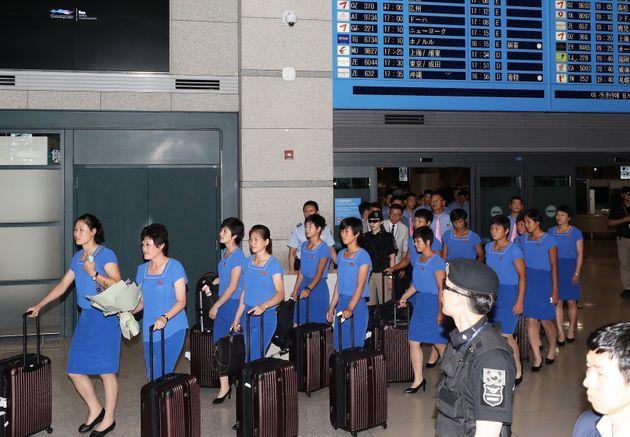 한국 찾은 북한 선수단.
