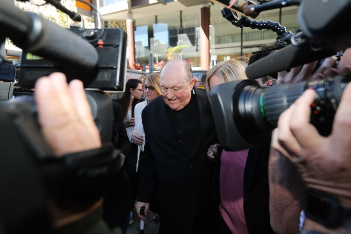 Adelaide Archbishop Philip Wilson leaves a courthouse after being found guilty of concealing historical child sexual abuse on