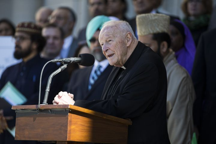 Former Archbishop of Washington Theodore McCarrick speaks during an interfaith meeting at the Washington National Cathed